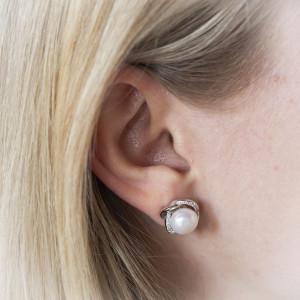 Stříbrné perlové náušnice Savour luxusní perla