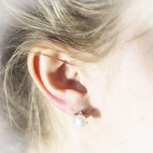 Stříbrné perlové náušnice Savour start pearl