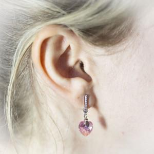 Luxusní, stříbrné náušnice visací Savour s pravým krystalem Swarovski light rose srdce