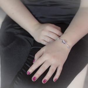 Luxusní, stříbrný náramek srdce Savour bright heart