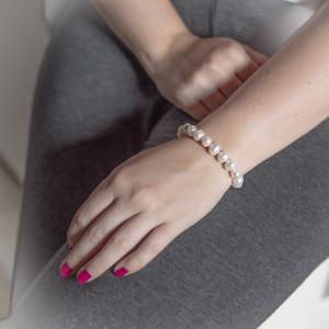 Stříbrný náramek s pravými perlami Savour white