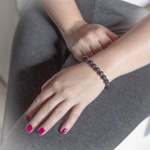 Stříbrný náramek s pravými perlami Savour black