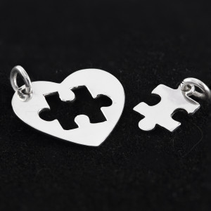 Stříbrné přívěsek srdce pro dva heart and puzzle