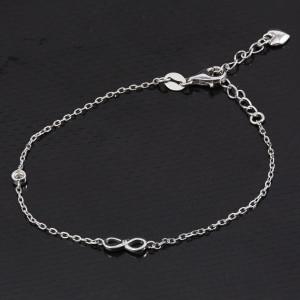Stříbrný náramek - nekonečno s kamínkem