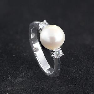 Stříbrný prsten s pravou perlou Anne