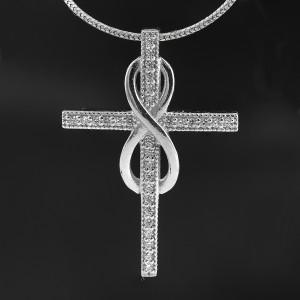 Stříbrný přívěsek křížek s nekonečnem