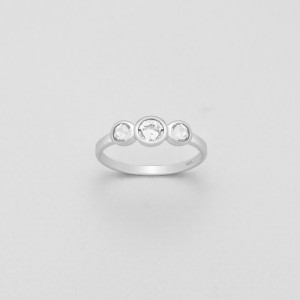 Stříbrný prstýnek se třemi, pravými krystaly Swarovski - bílý