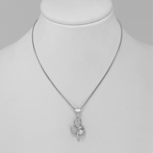 Stříbrný náhrdelník trojlístek se srdíčky