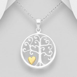 Přívěsek strom života s pozlaceným srdíčkem