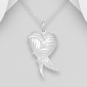 Stříbrný medailonek na fotku srdce s andělskými křídly II
