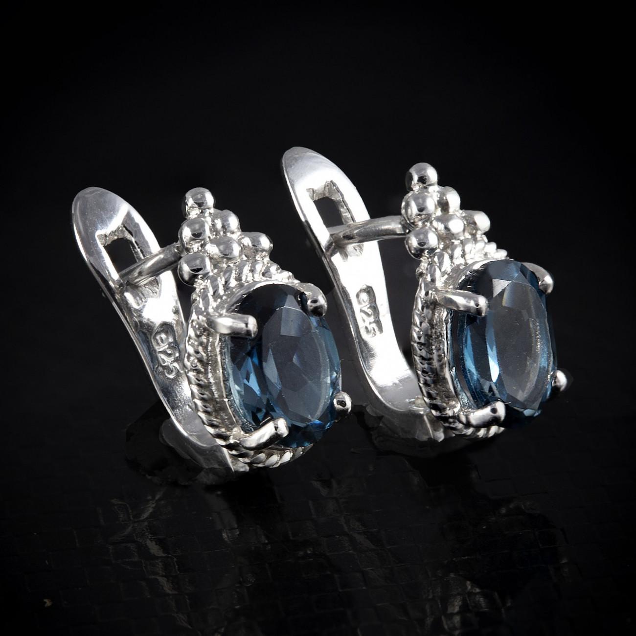 Luxusní, stříbrné náušnice s pravým london blue topaze