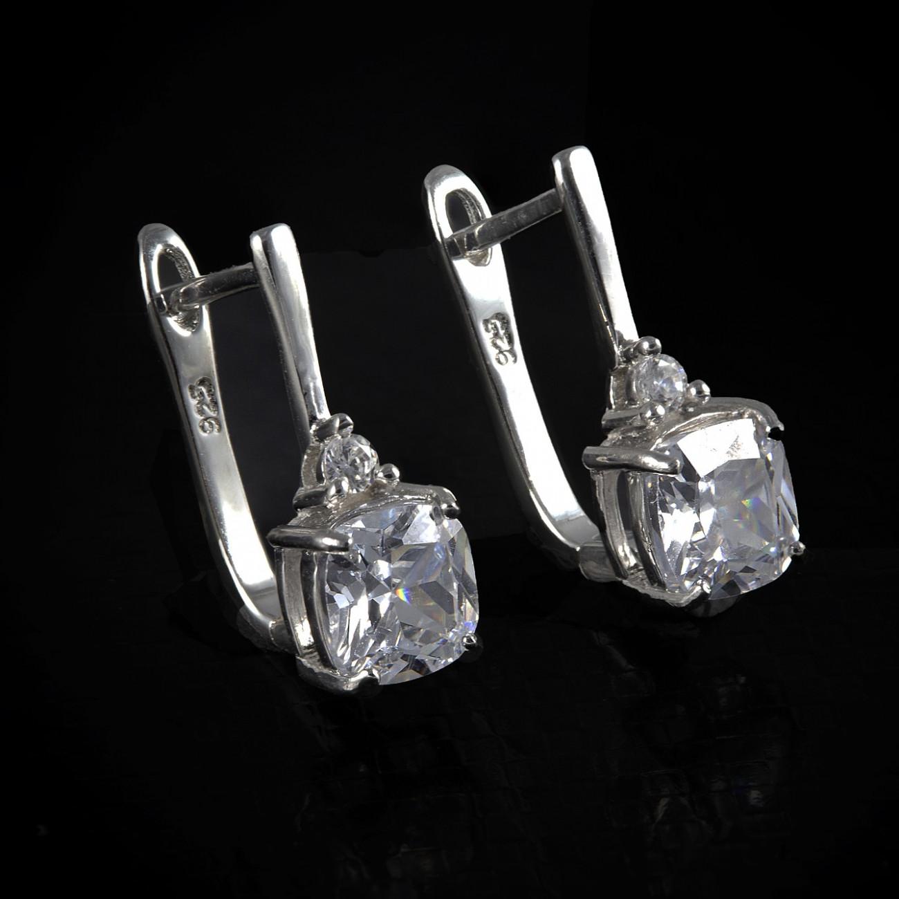 Luxusní, stříbrné náušnice Savour crystal