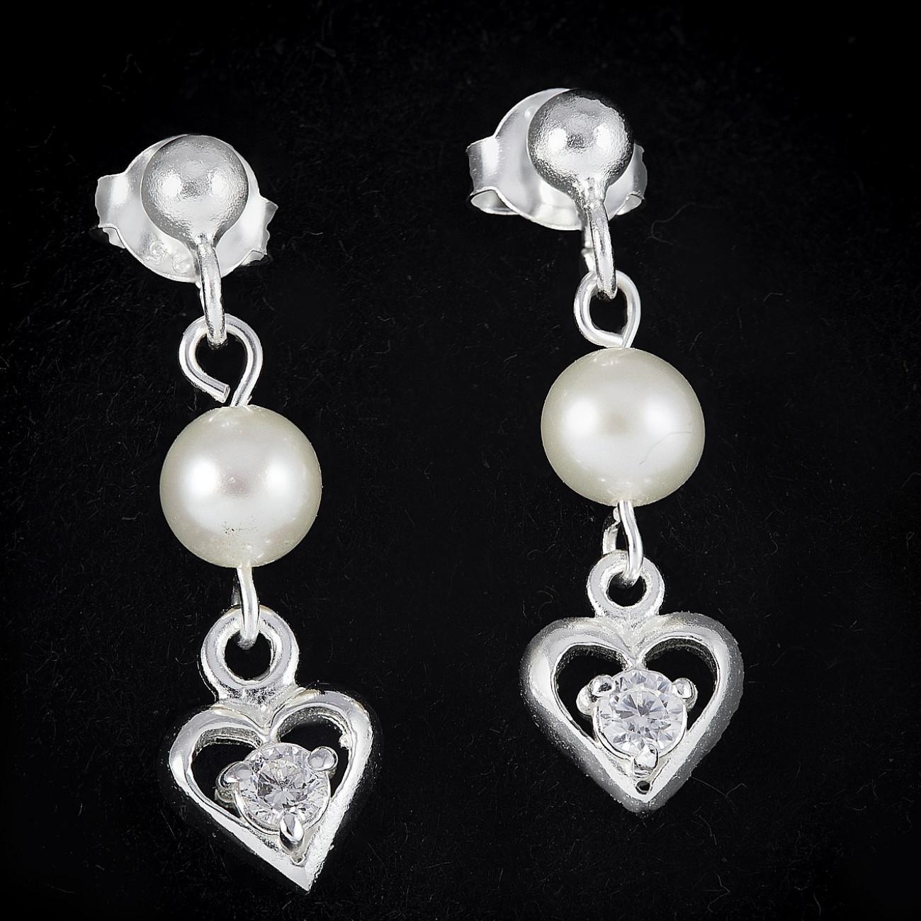 Stříbrné náušnice s perlou visací - srdce a perly