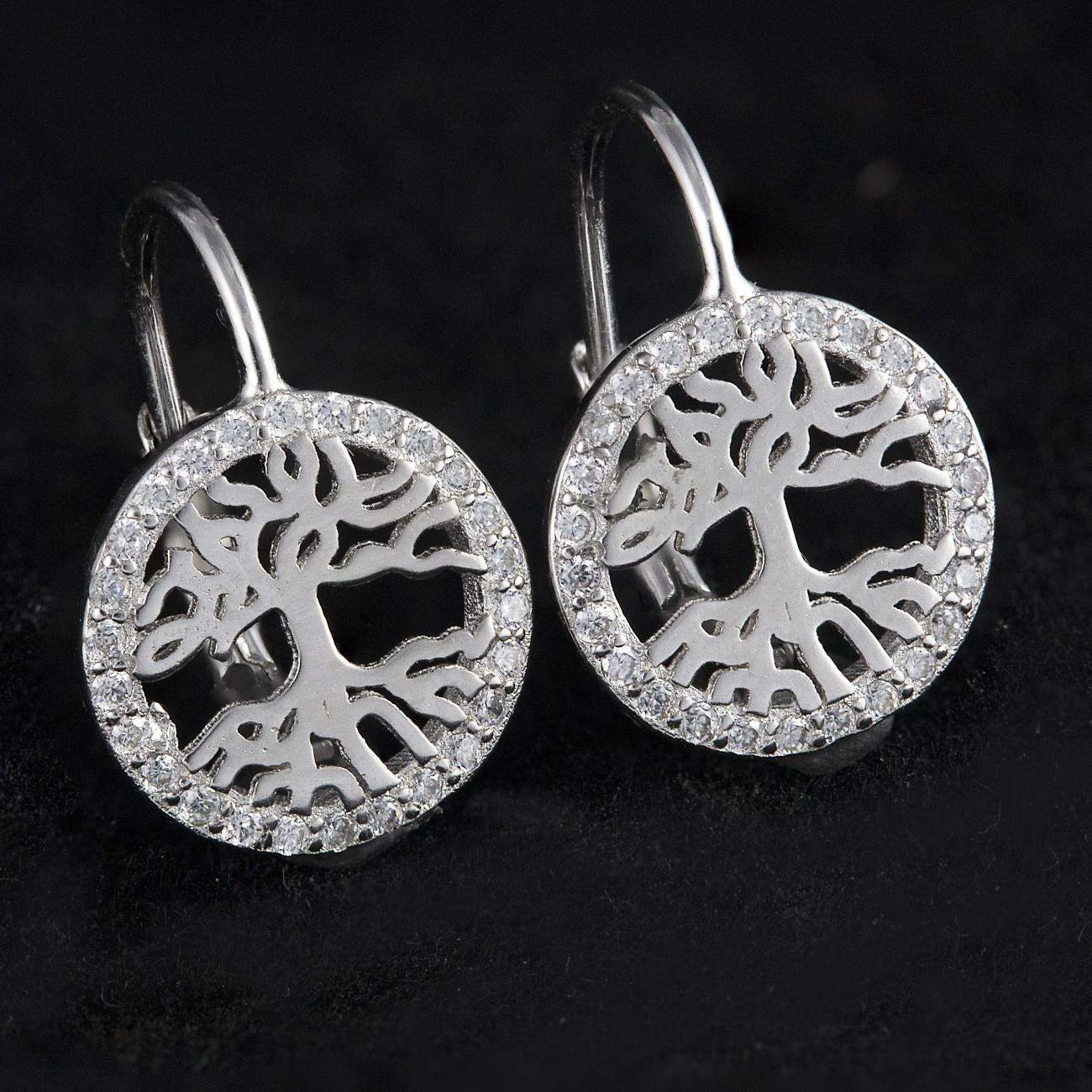 Luxusní, stříbrné náušnice Savour tree crystal