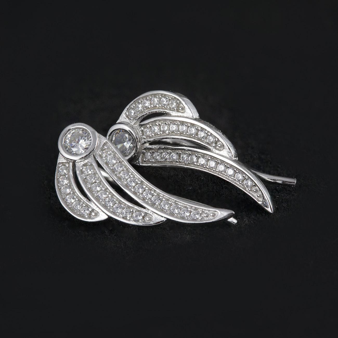 Luxusní, stříbrné náušnice crystal wings
