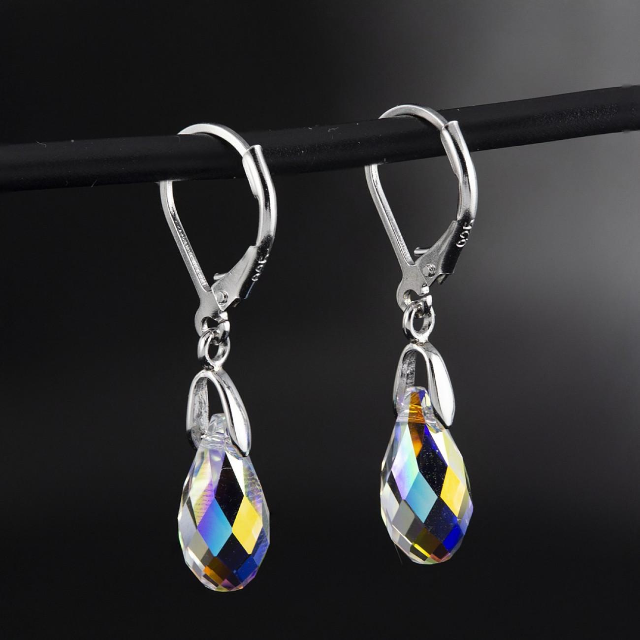 Luxusní, stříbrné náušnice Savour s pravým krystalem Swarovski Aurore Boreale