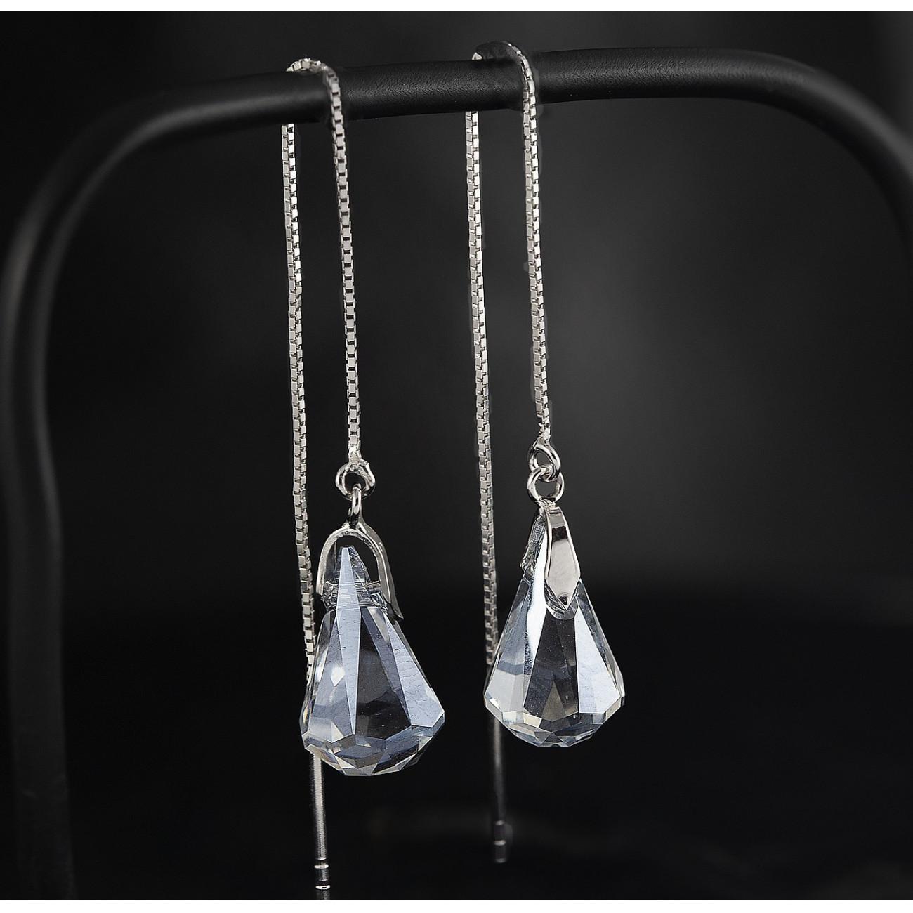 Luxusní, stříbrné řetízkové náušnice Savour s pravým krystalem Swarovski blue shade