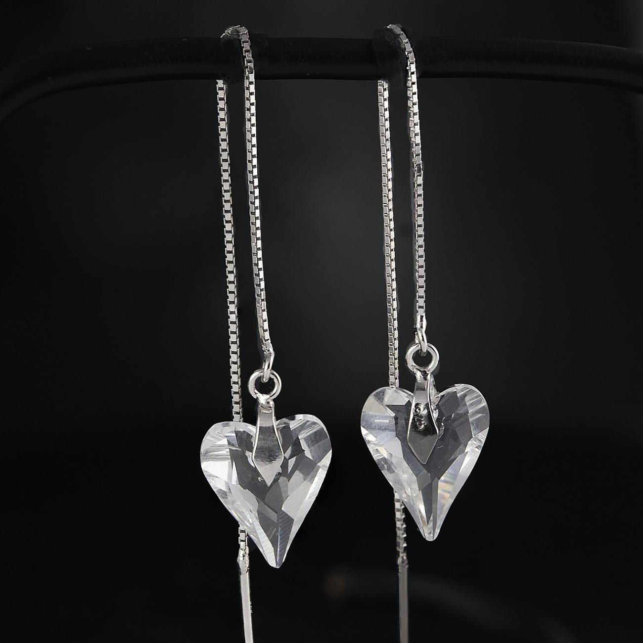 Luxusní, stříbrné řetízkové náušnice Savour s pravým krystalem Swarovski heart crystal