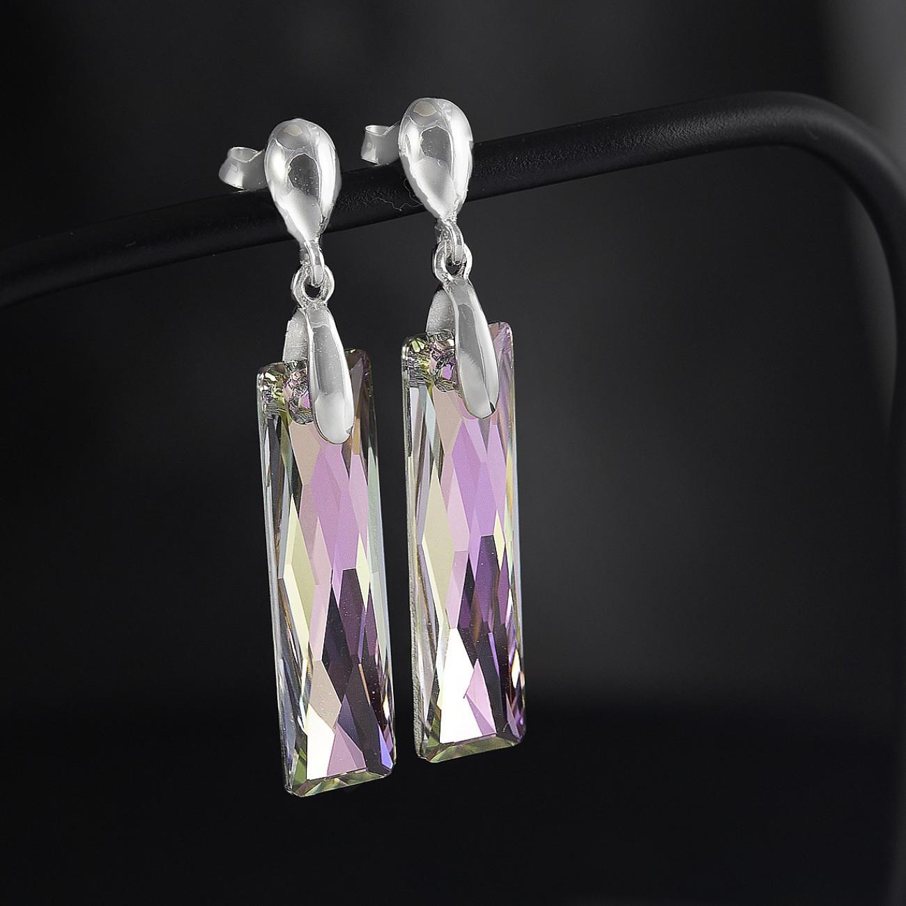 Stříbrné náušnice visací s pravým krystalem Swarovski vitrail light