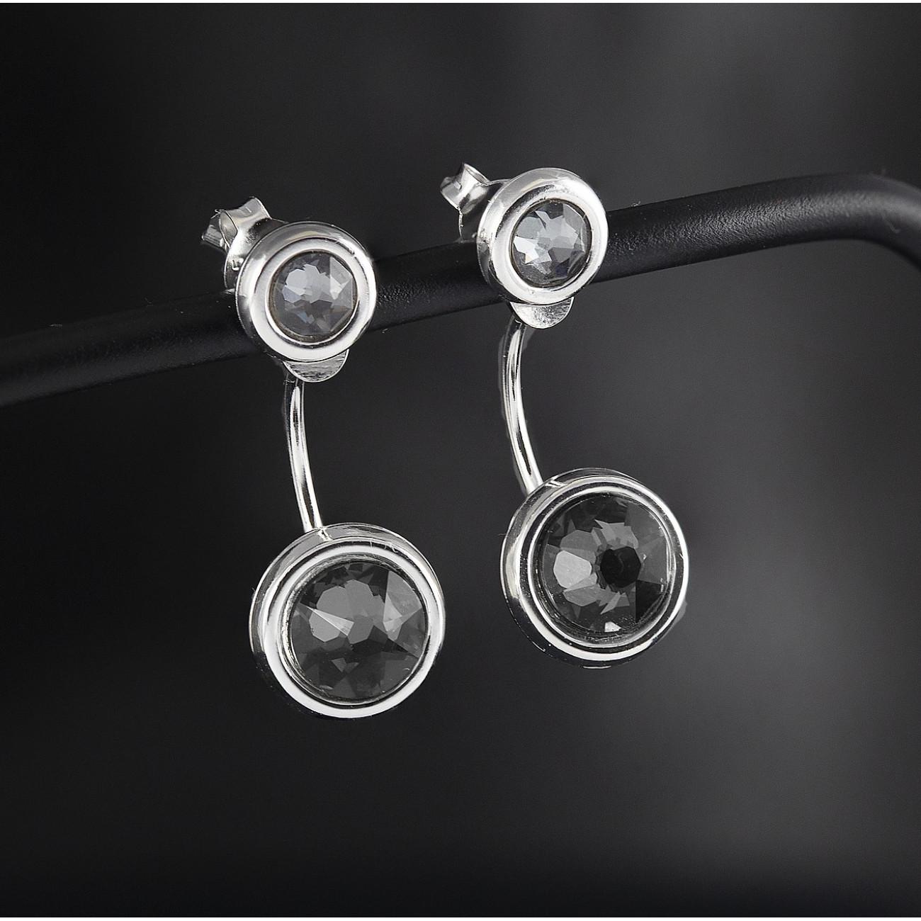 Luxusní náušnice Savour s pravým krystalem Swarovski silver night