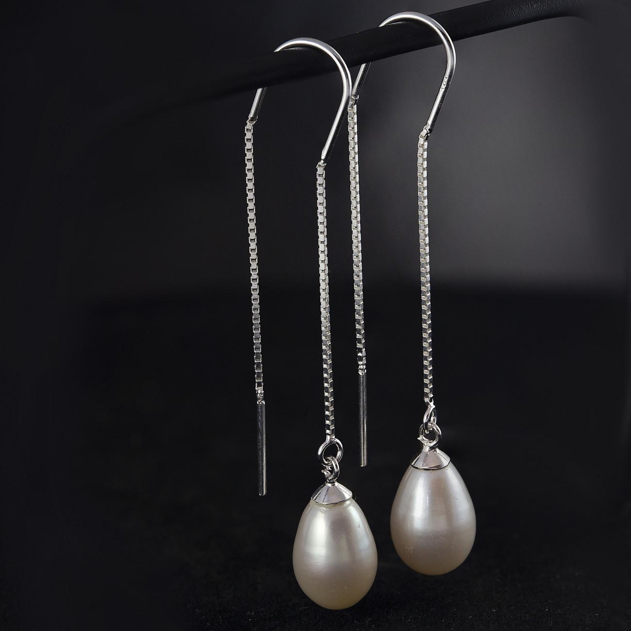 Stříbrné visací náušnice s řetízkem Savour s perlou