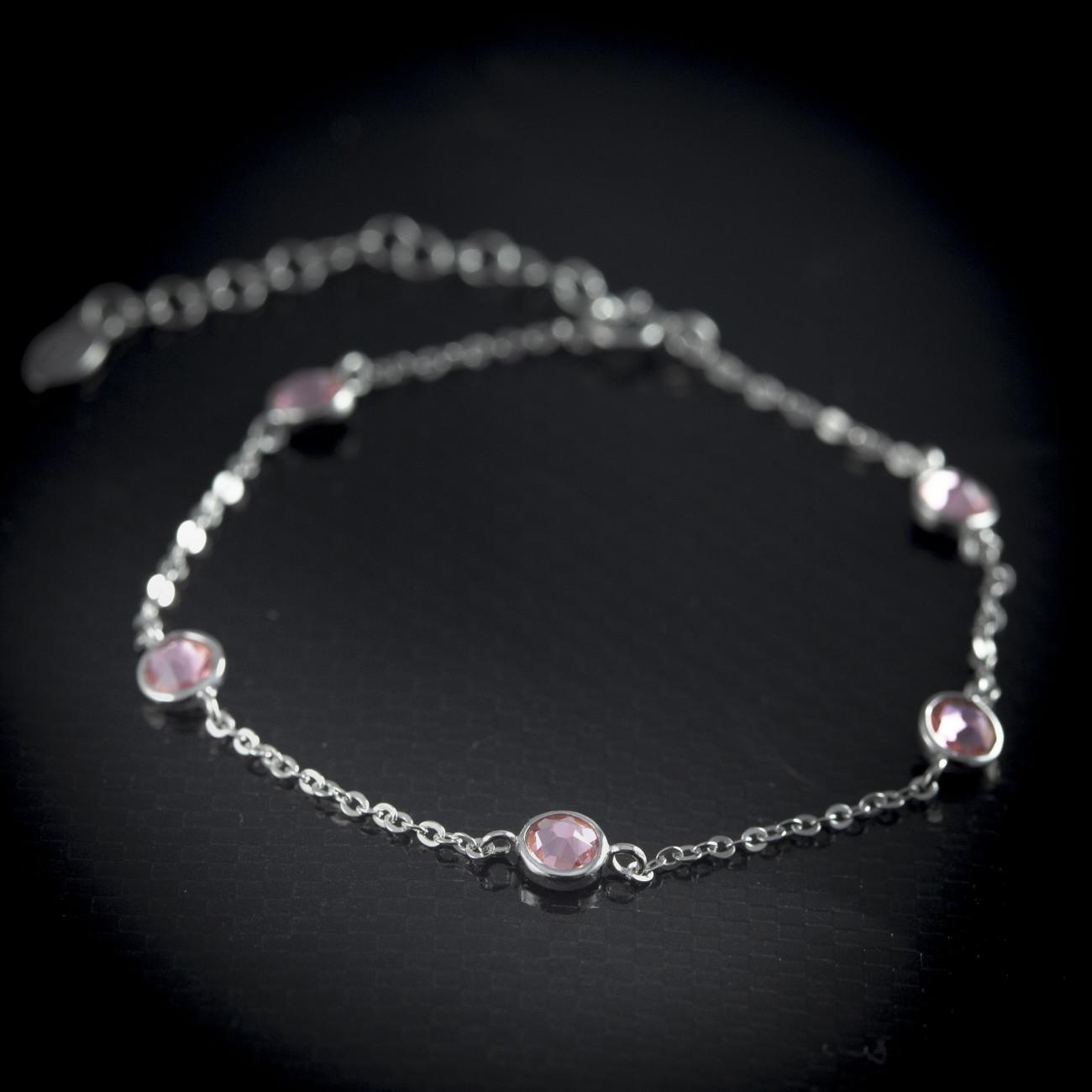 Stříbrný náramek Savour s light rose krystaly Swarovski