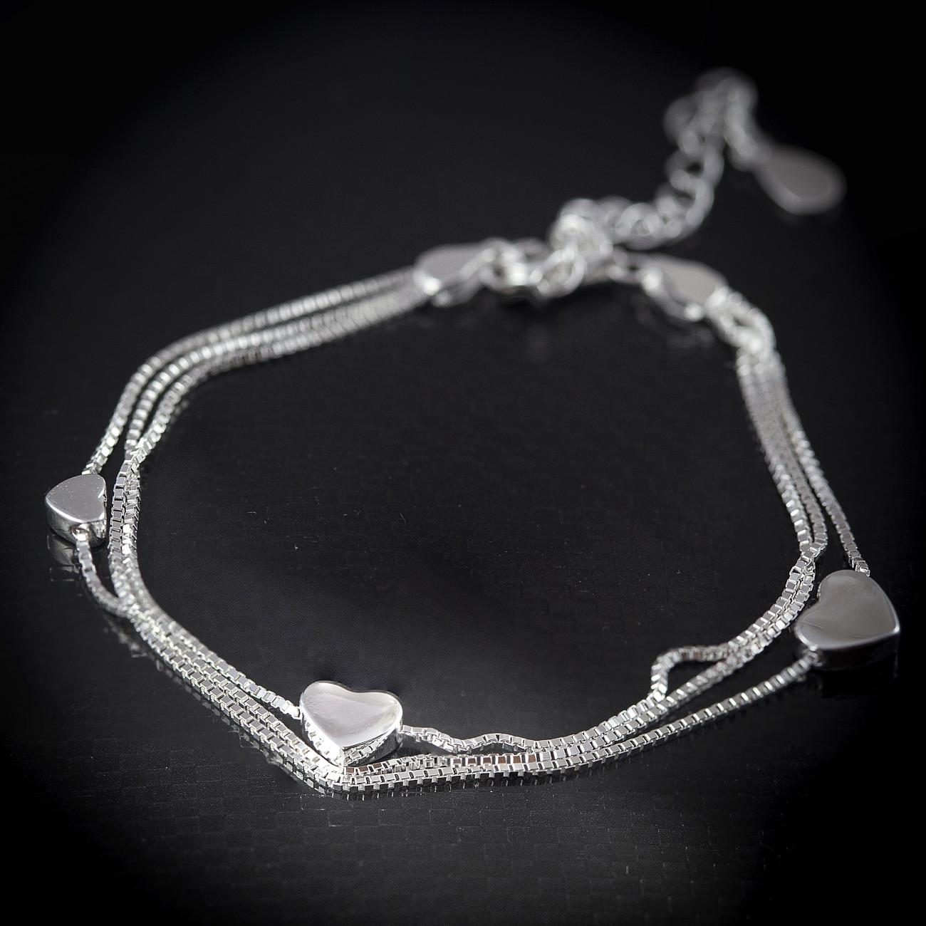 Luxusní, stříbrný náramek srdce Savour triple chain