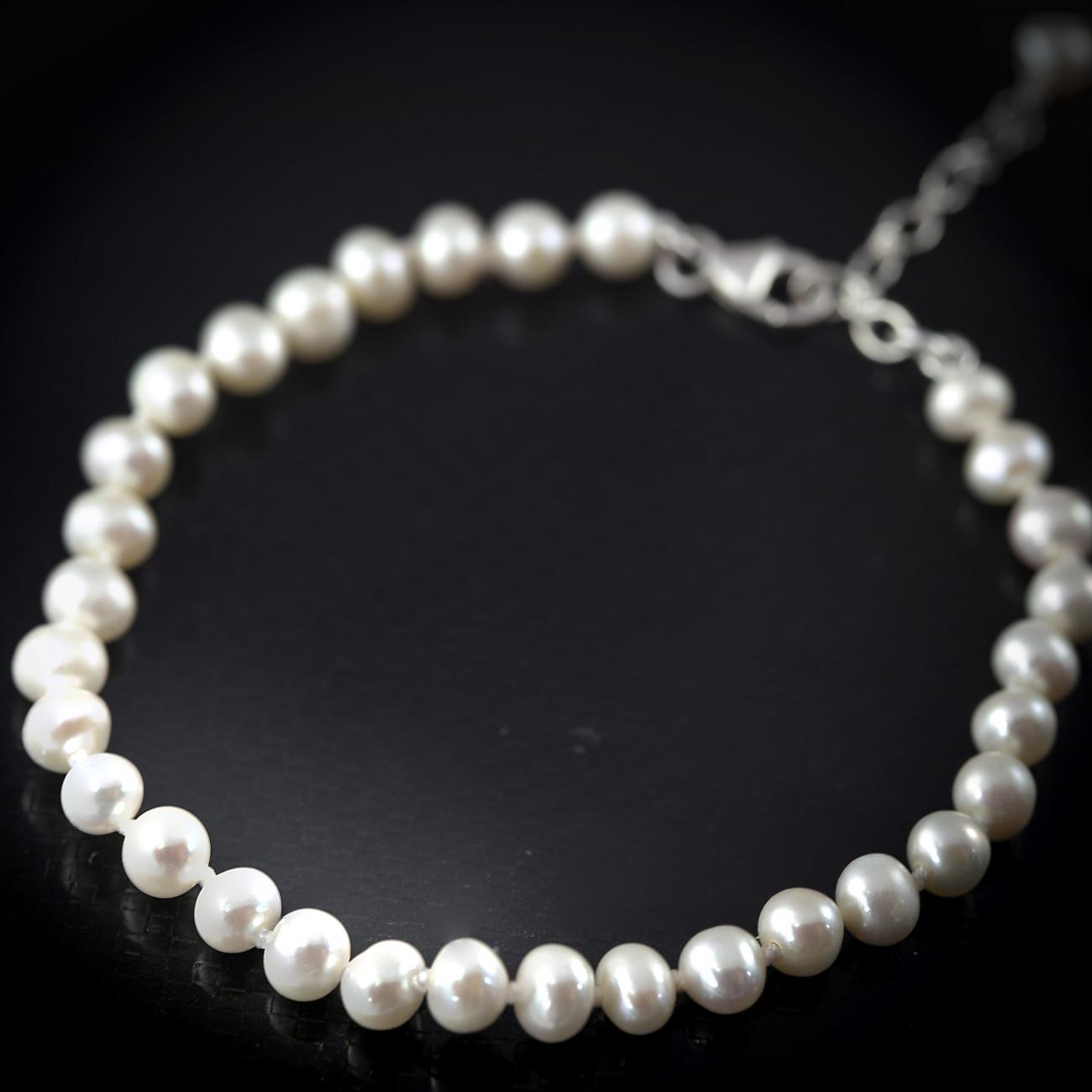Stříbrný náramek s pravými perlami Savour white AA+