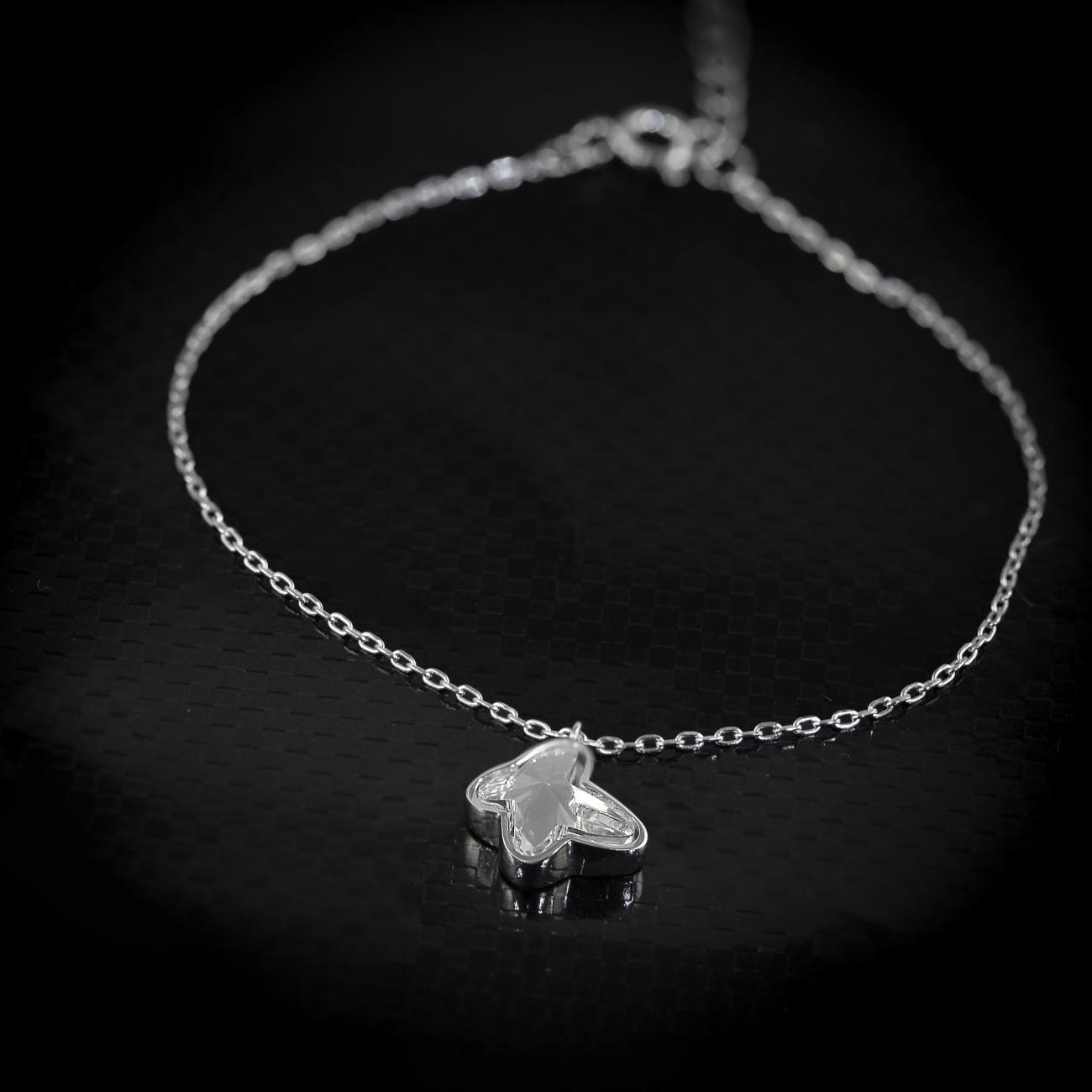 Stříbrný náramek Savour s pravým krystalem Swarovski - clear butterfly