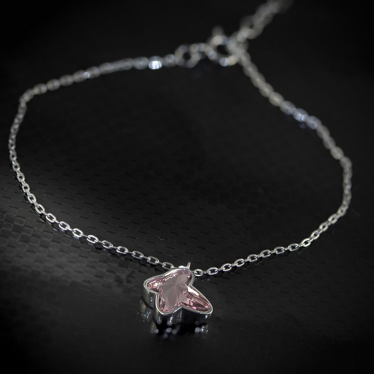 Stříbrný náramek Savour s pravým krystalem Swarovski - light rose butterfly