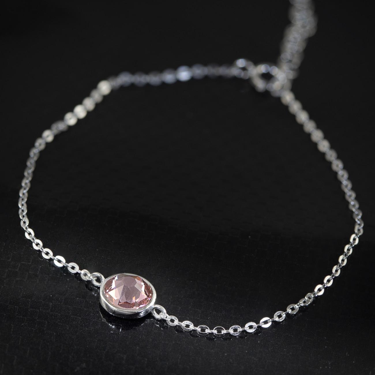 Stříbrný náramek Savour s pravým krystalem Swarovski - light rose