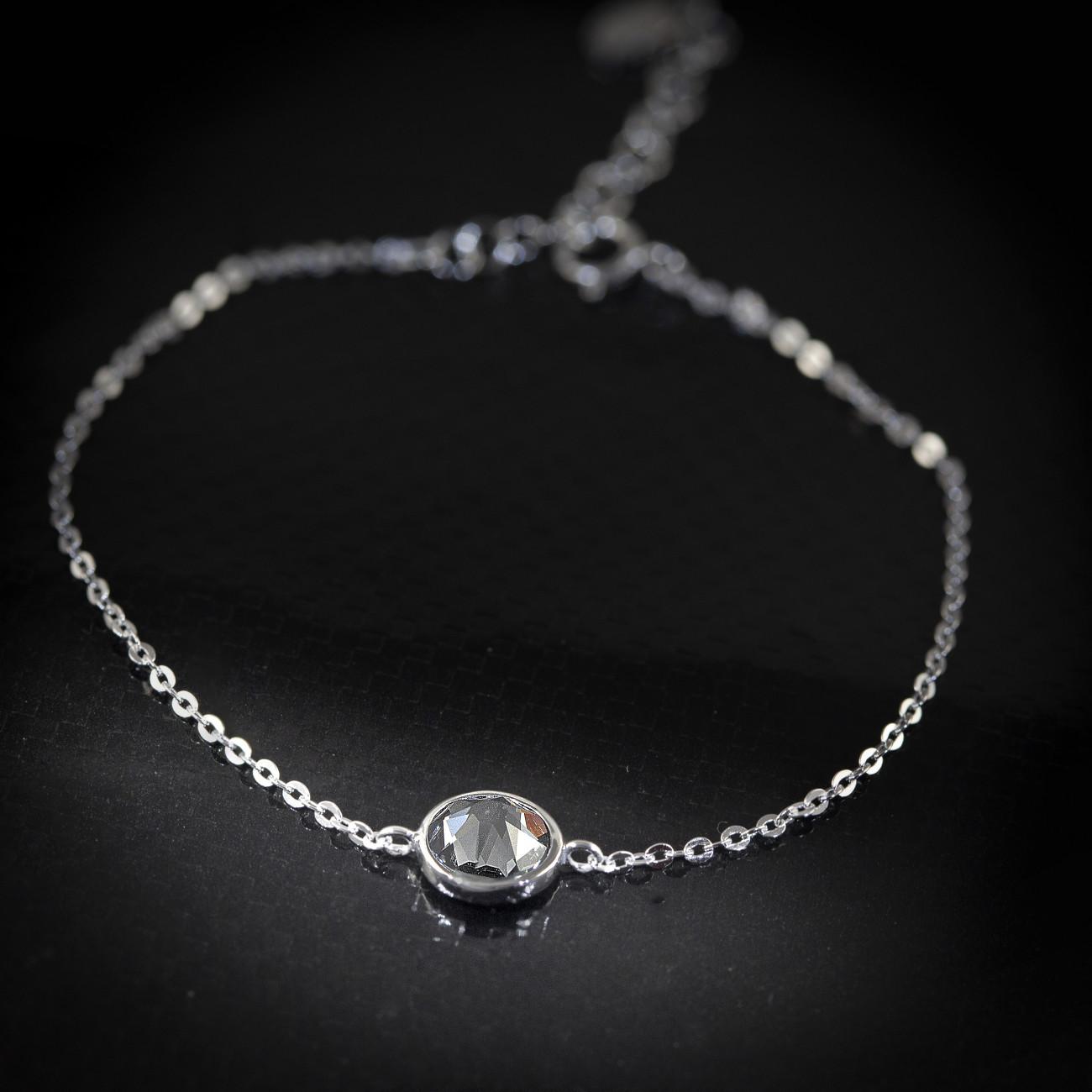 Stříbrný náramek Savour s pravým krystalem Swarovski - silver night