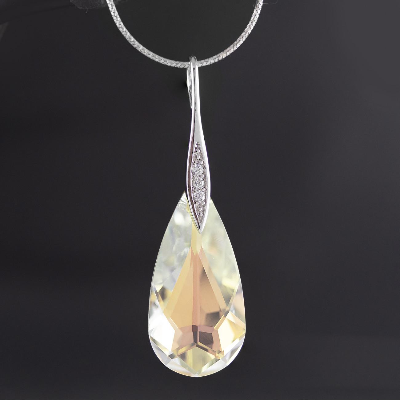 Stříbrný přívěsek s pravým krystalem Swarovski kapka Aurore Boreale