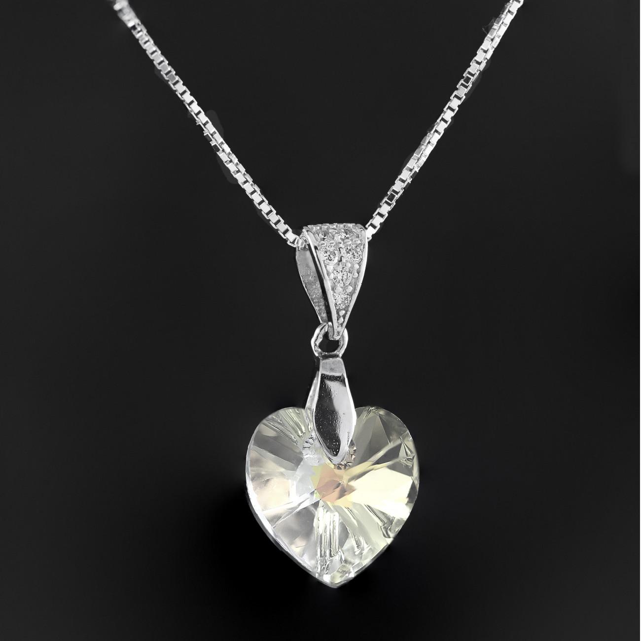 Stříbrný náhrdelník srdce s pravým krystalem Swarovski AB