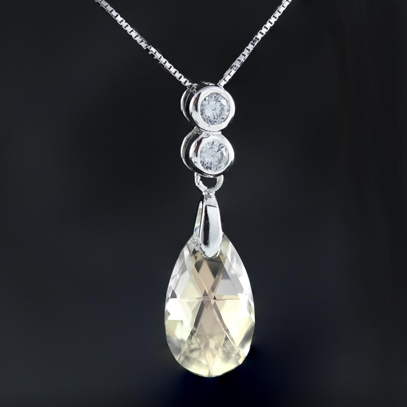 Stříbrný náhrdelník s pravým krystalem Swarovski ovál AB