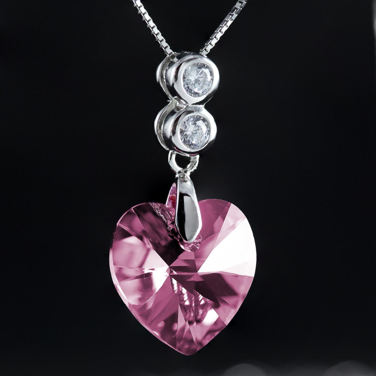 Stříbrný náhrdelník srdce s pravým krystalem Swarovski light rose heart and crystal