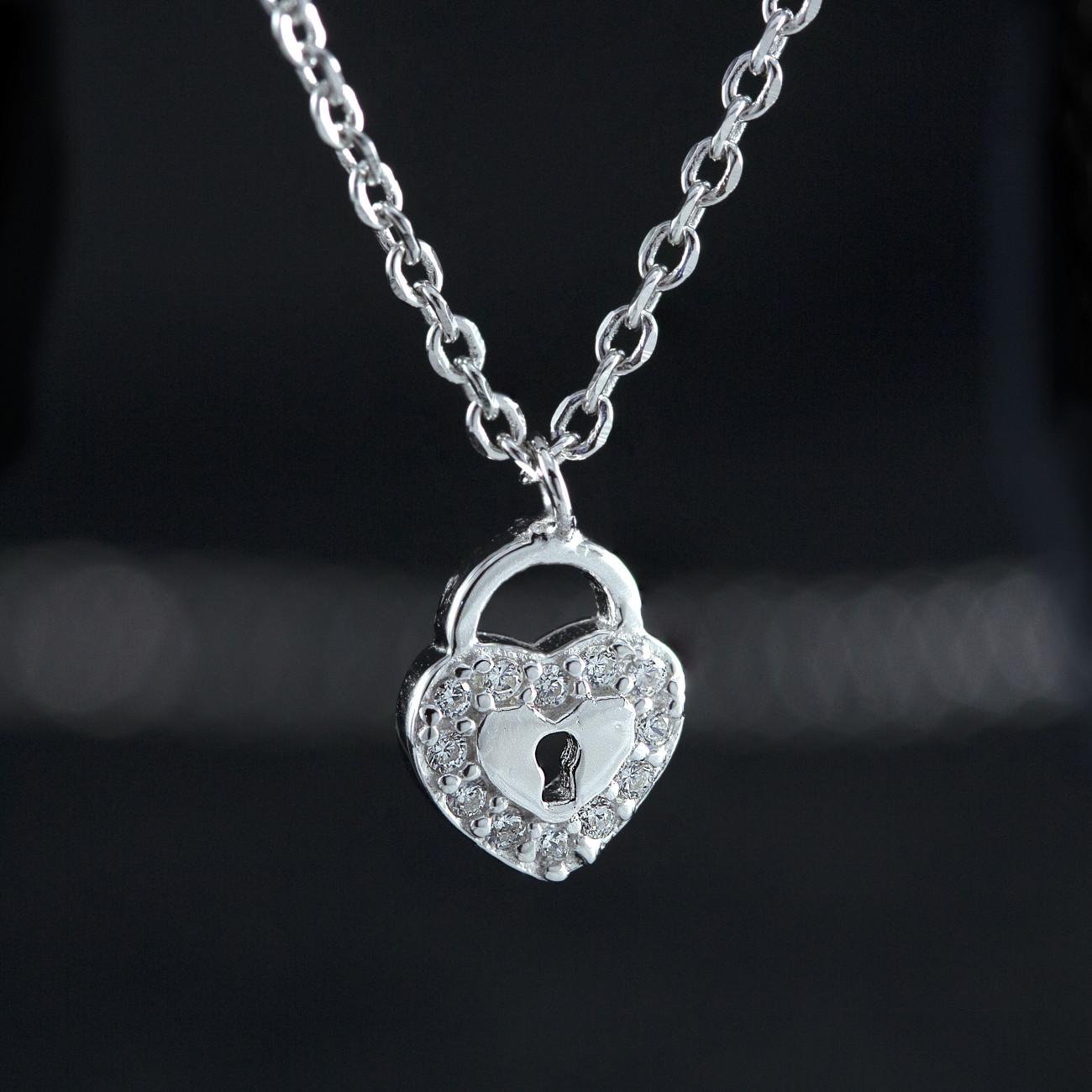 Stříbrný náhrdelník srdce zámek s krystaly Savour