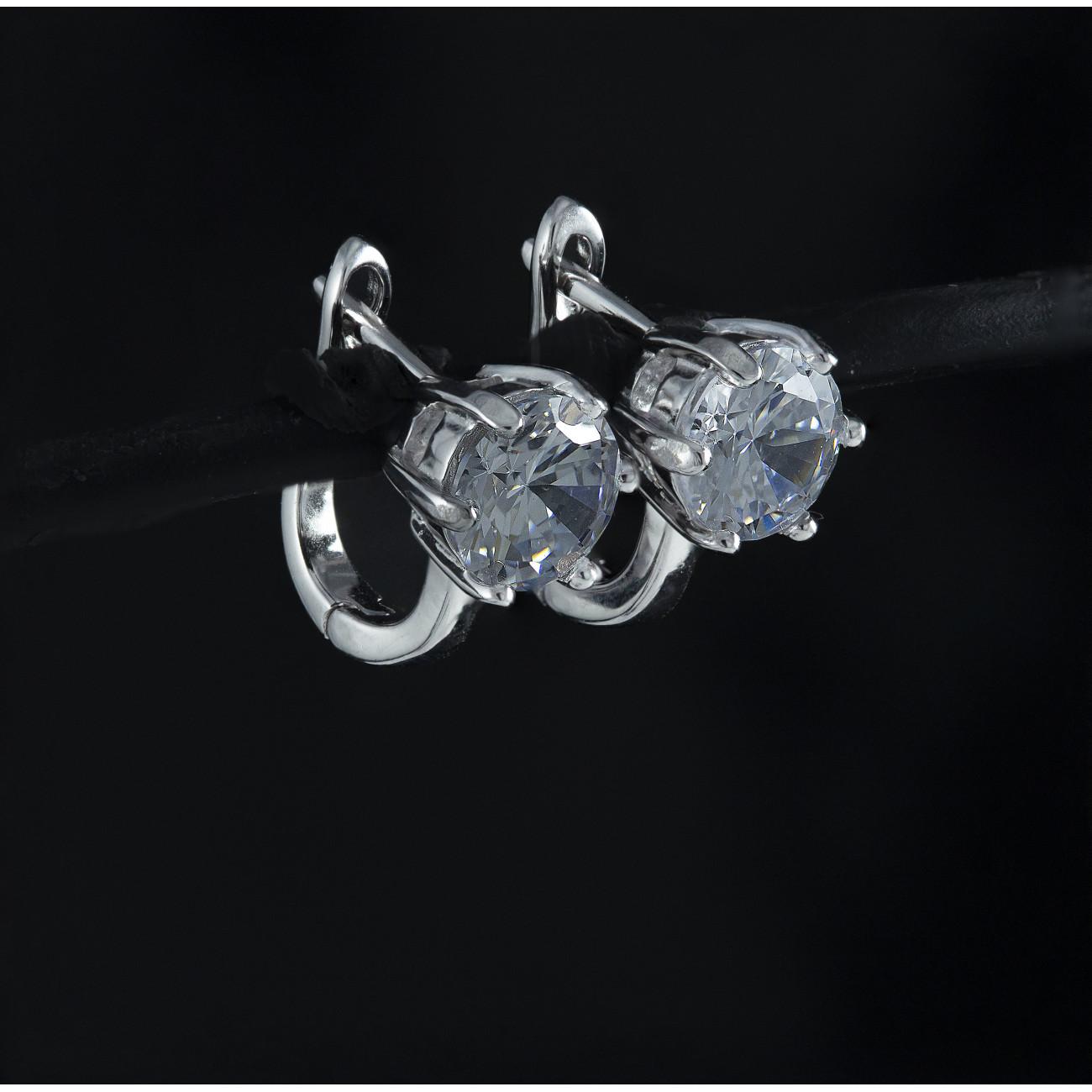 Stříbrné náušnice kroužky Savour triple crystal