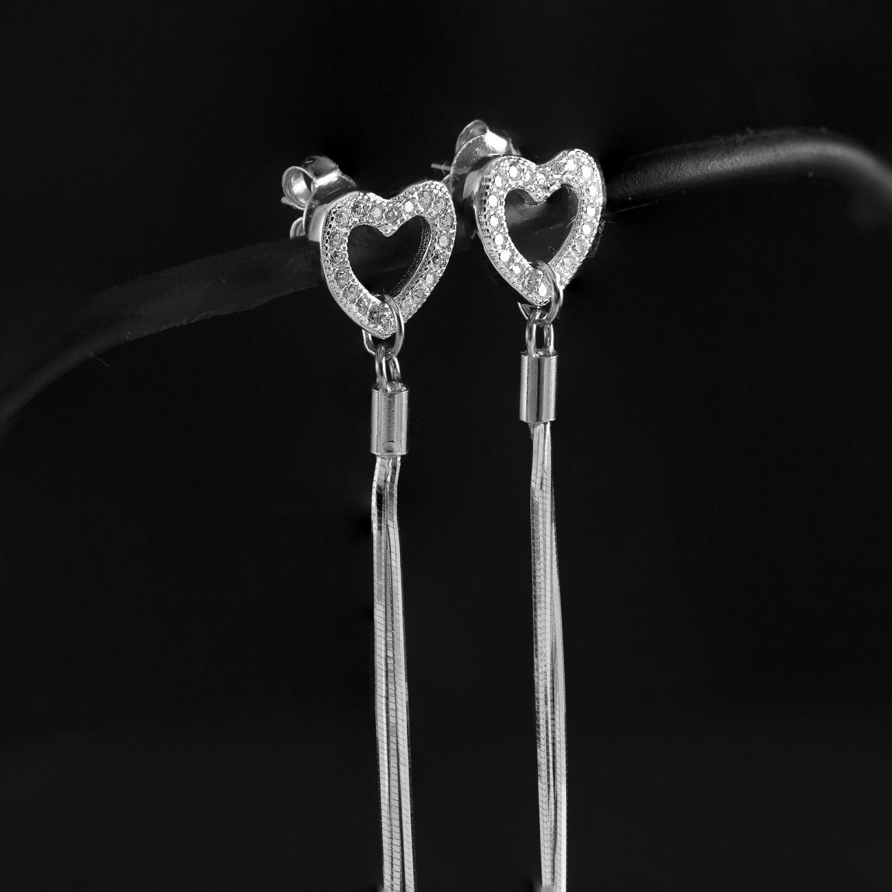 Stříbrné náušnice visací Savour srdce a řetízek