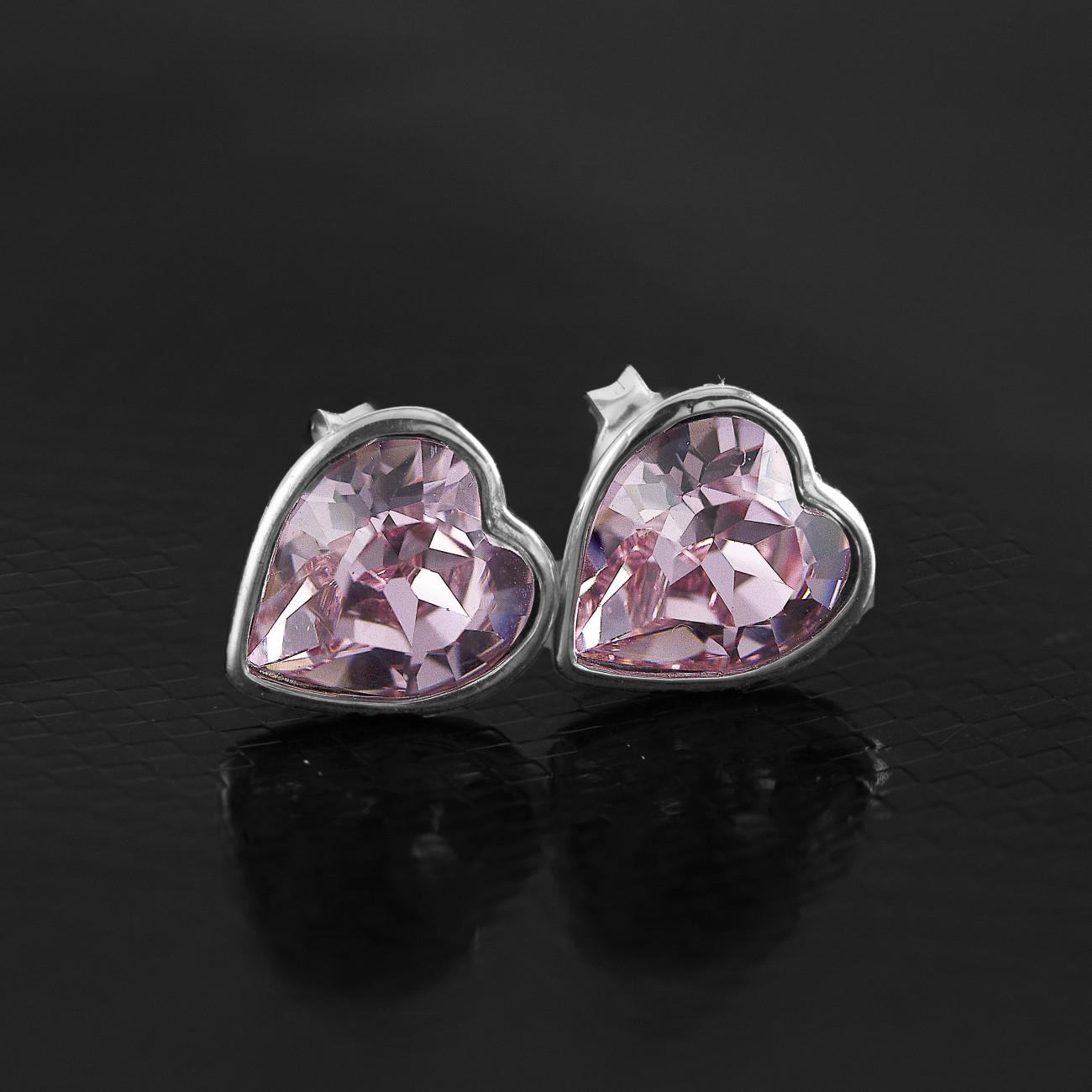 Stříbrné náušnice pecky -  srdce s pravým krystalem Swarovski light rose