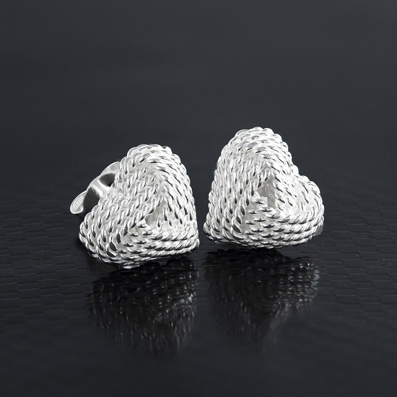 Stříbrné náušnice pecky ve tvaru srdce a uzlíku