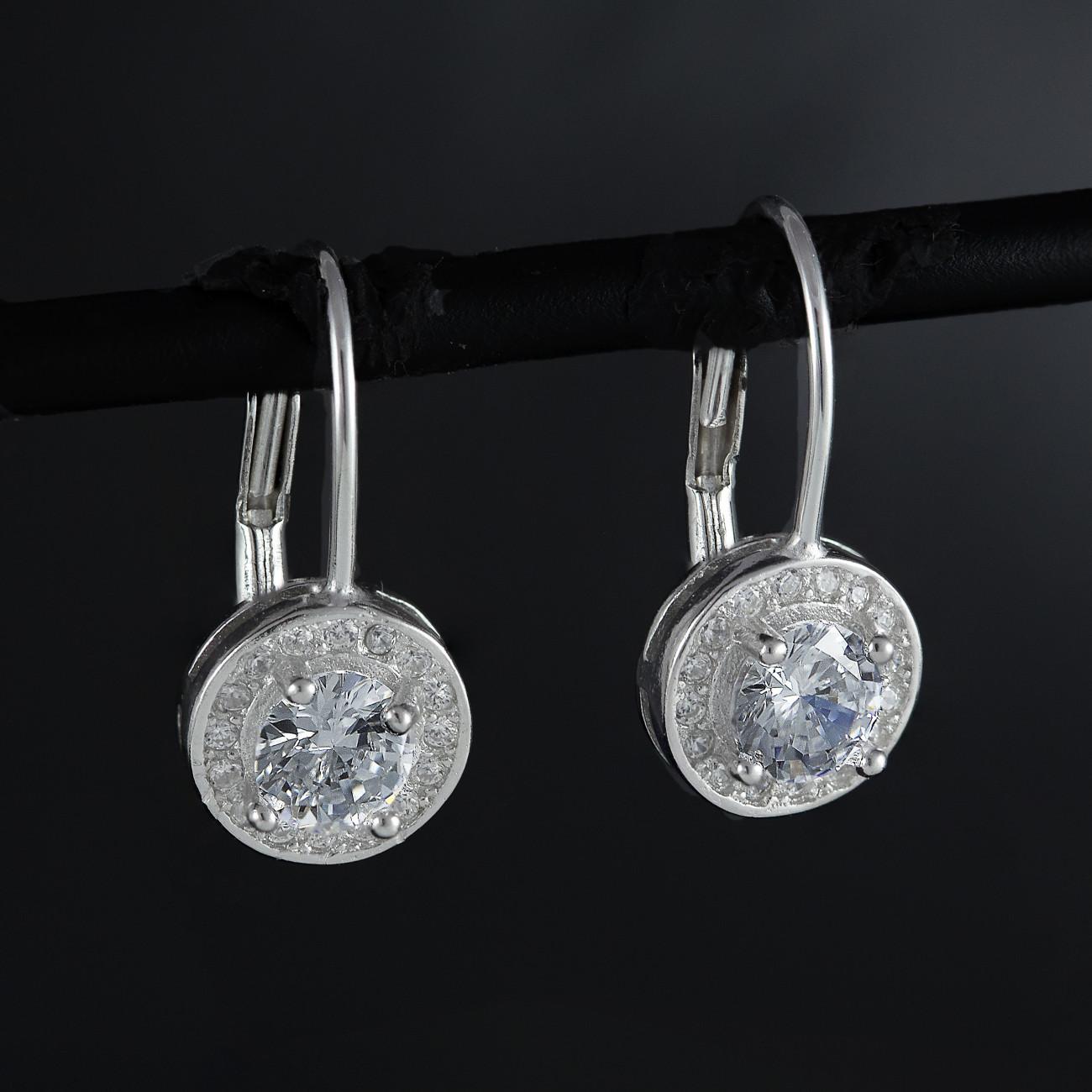 Stříbrné náušnice visací Savour se třpytivým krystalem