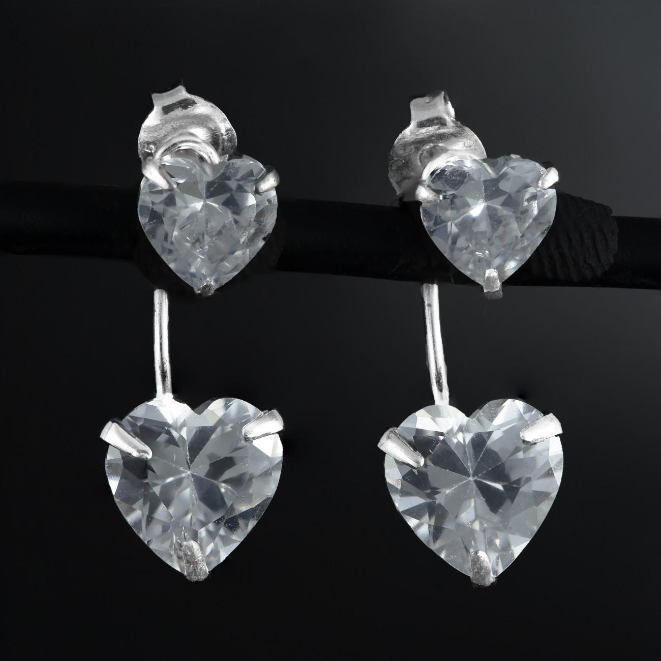 Stříbrné náušnice s dvojitými srdíčky Savour crystal