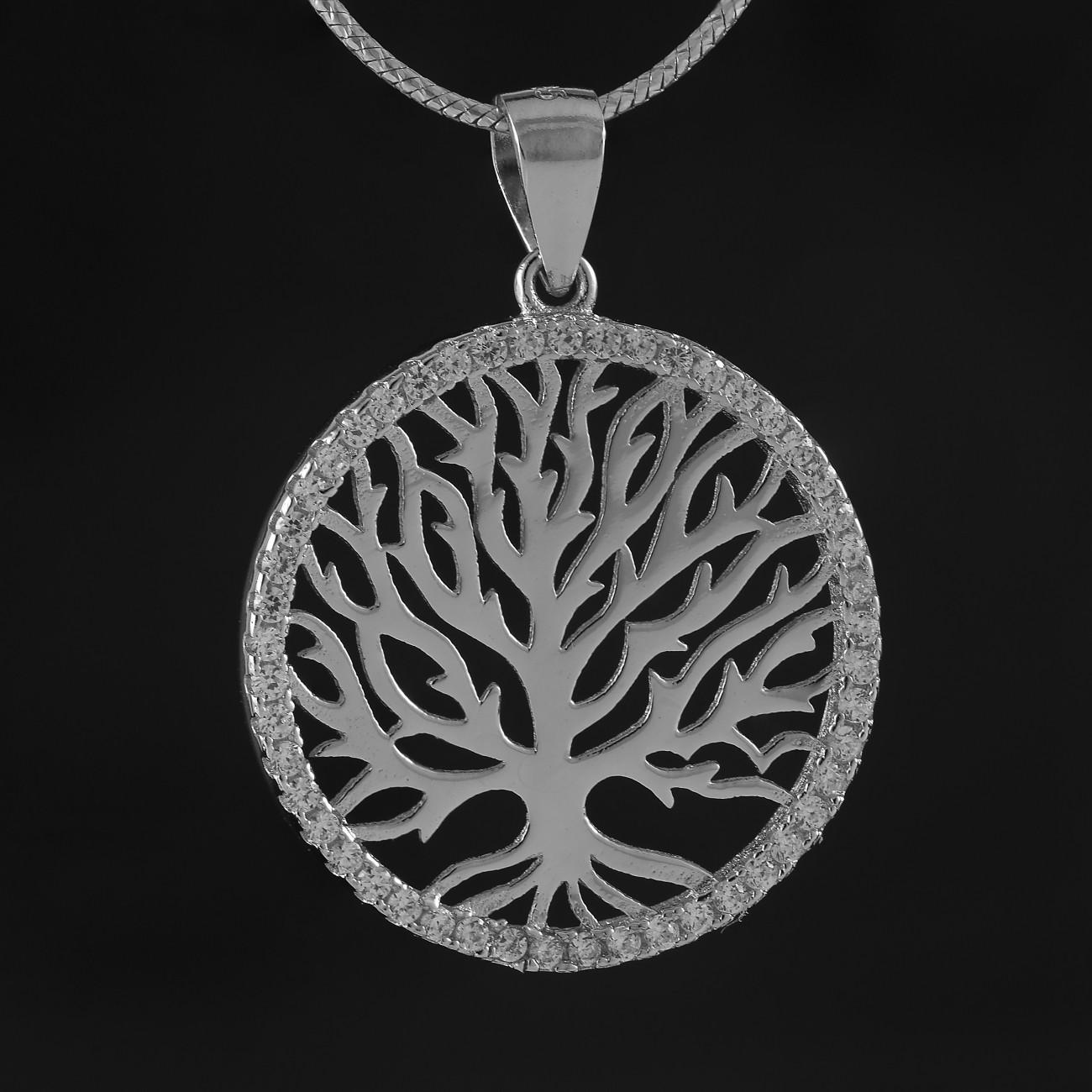 Stříbrný přívěsek strom života se třpytivými zirkony