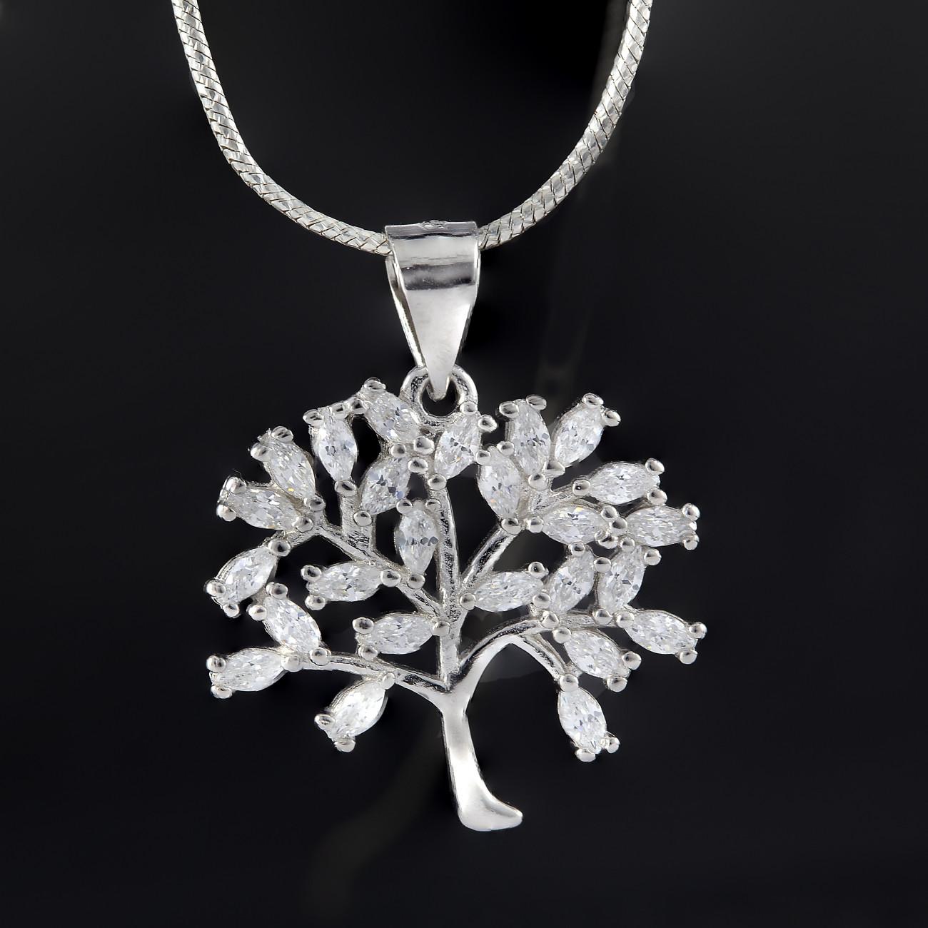 Luxusní přívěsek strom života z pravého stříbra se třpytivými kamínky