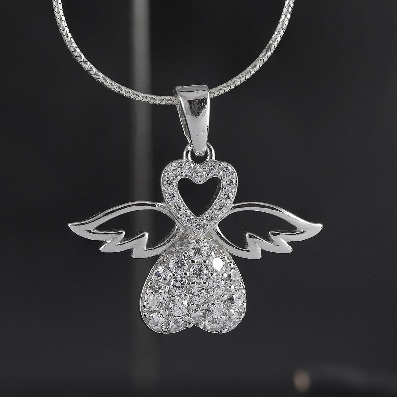 Luxusní, stříbrný přívěsek anděl strážný se srdíčky