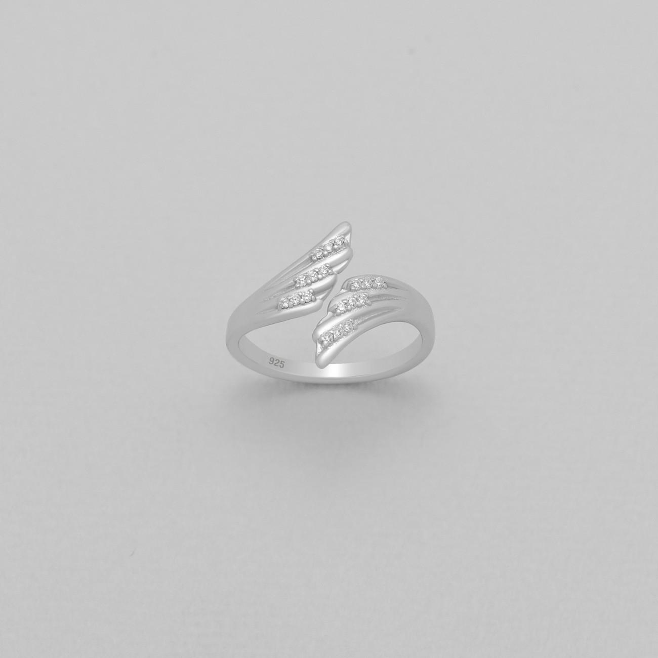 Luxusní, stříbrný prstýnek s křídly a zirkony