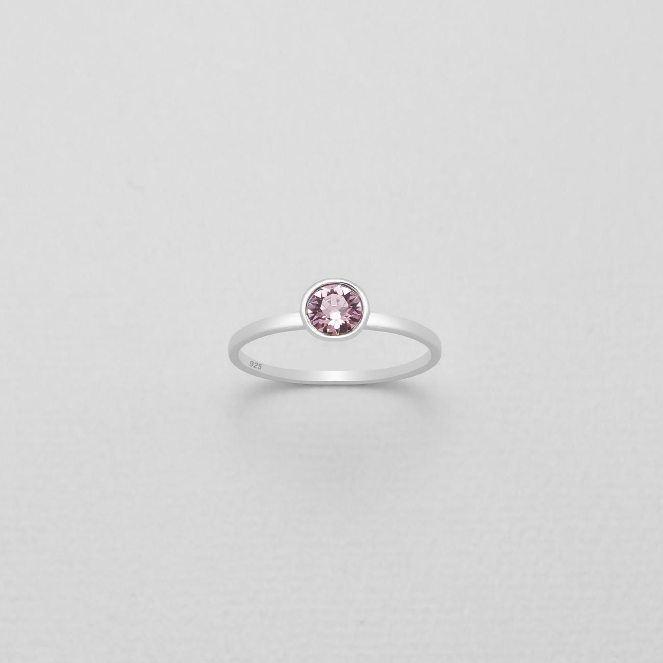 Stříbrný prstýnek s pravým krystalem Swarovski - růžový