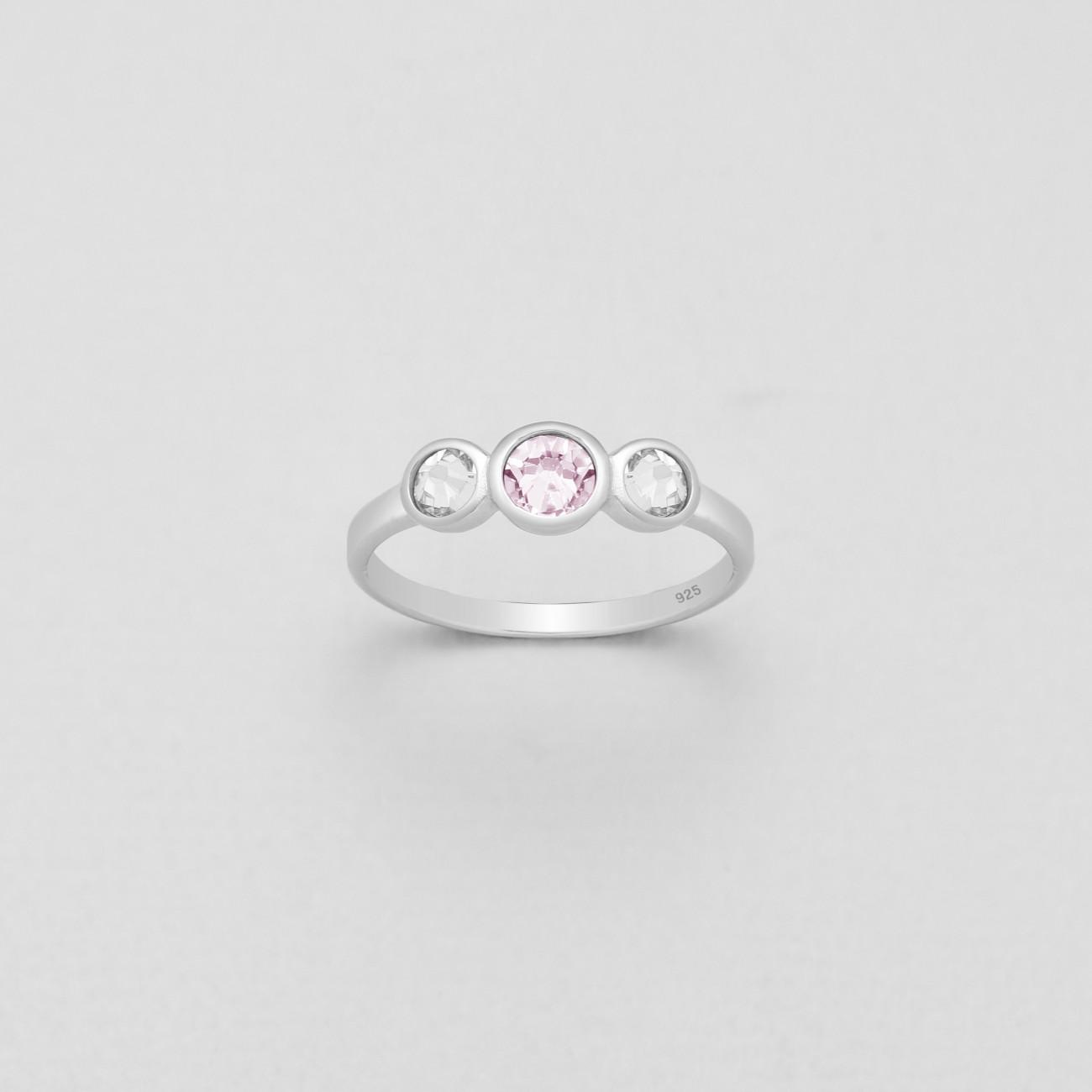 Stříbrný prstýnek se třemi, pravými krystaly Swarovski - rose
