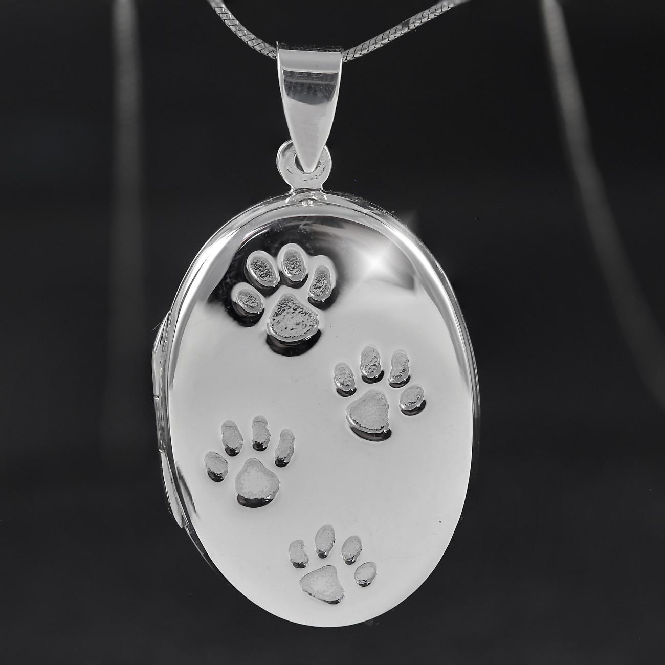 Stříbrný medailonek na fotku psí tlapky